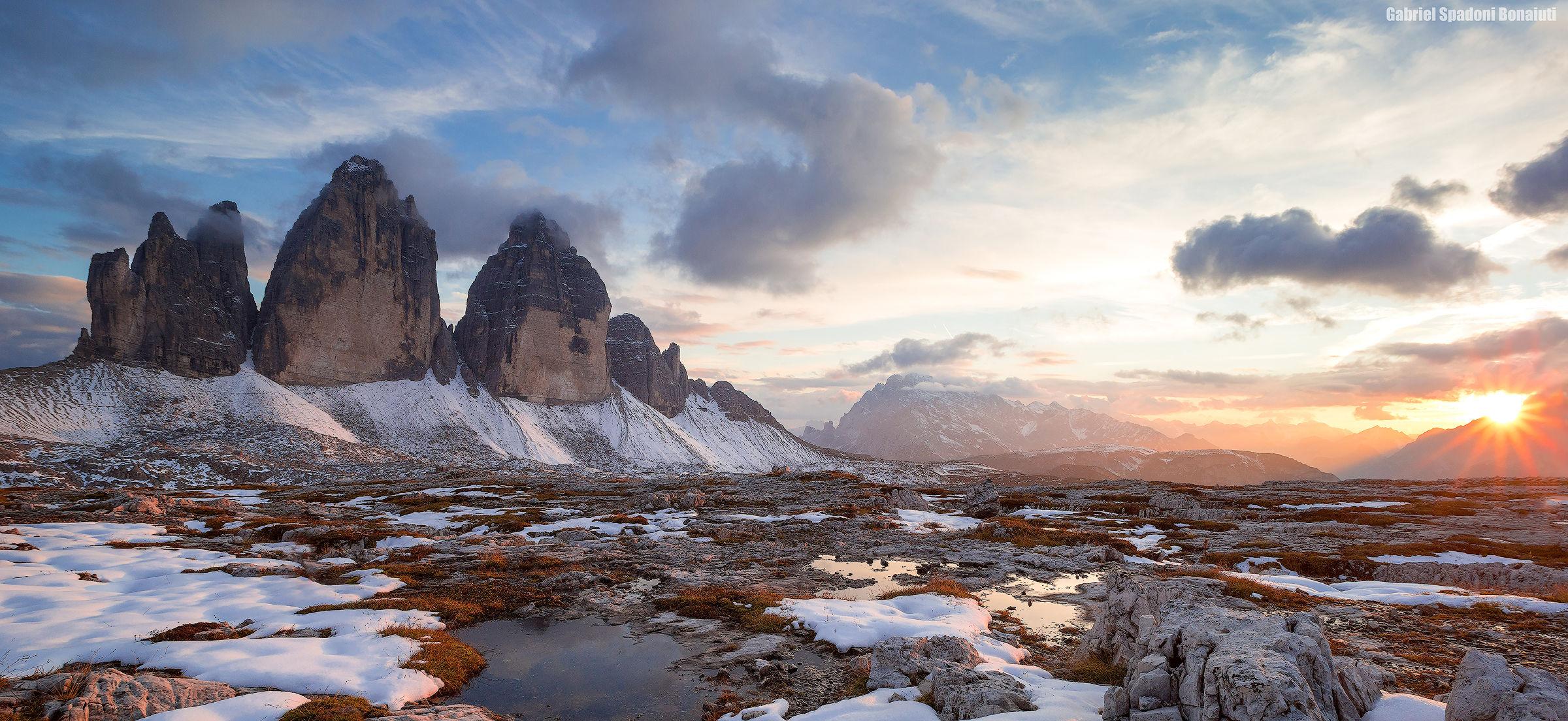 Three peaks at sunset...