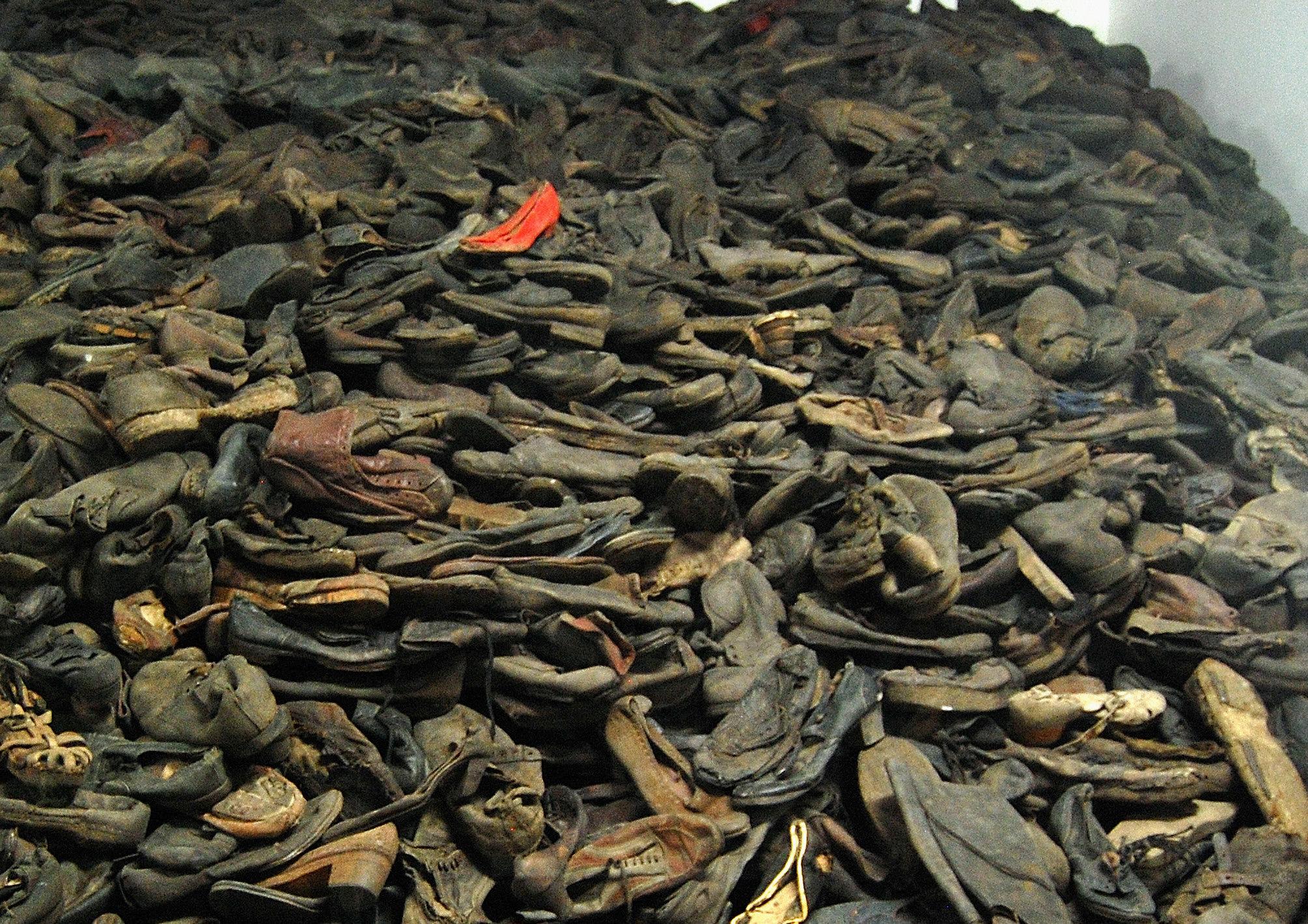 Auschwitz (Poland): the red shoe...