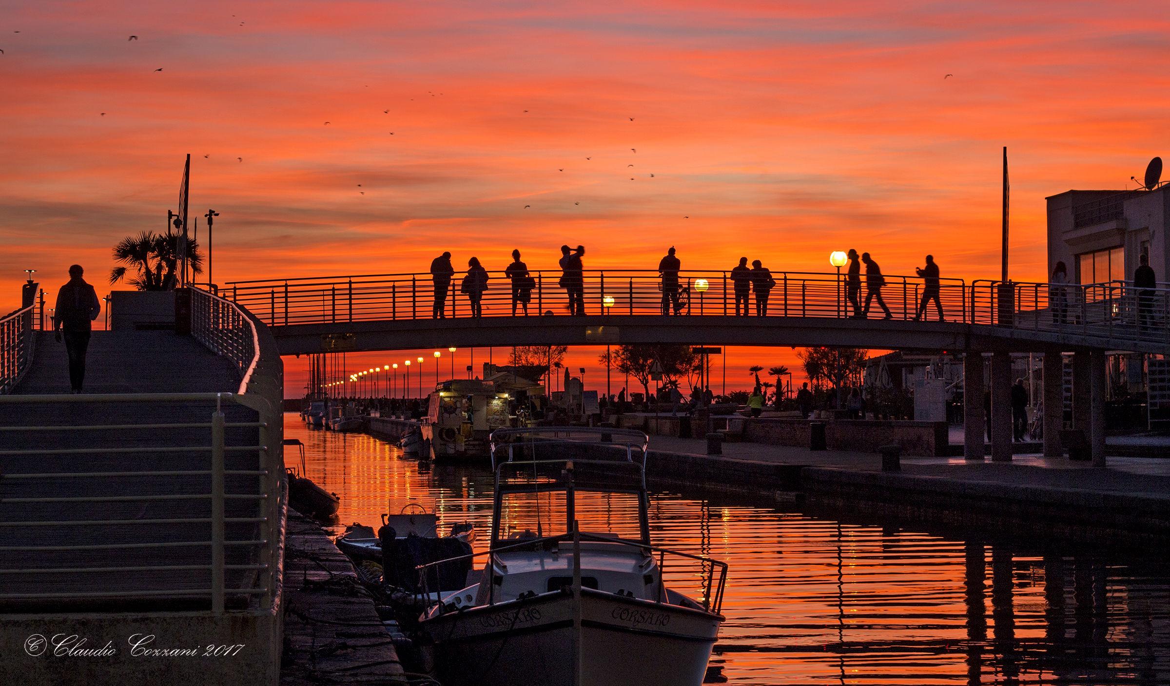 Sunset at dock in Viareggio two...