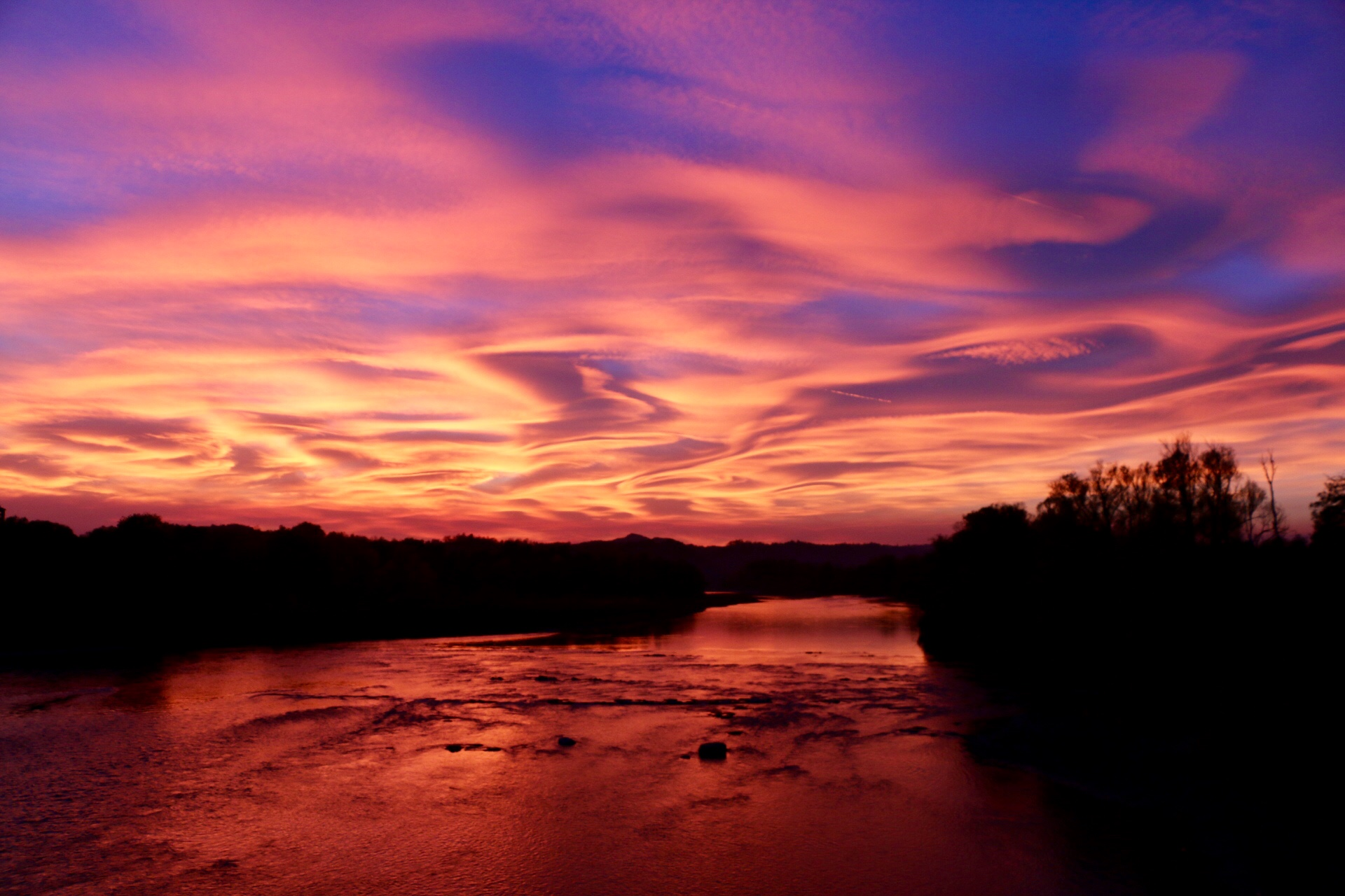 Amazing sunset over the river Po....
