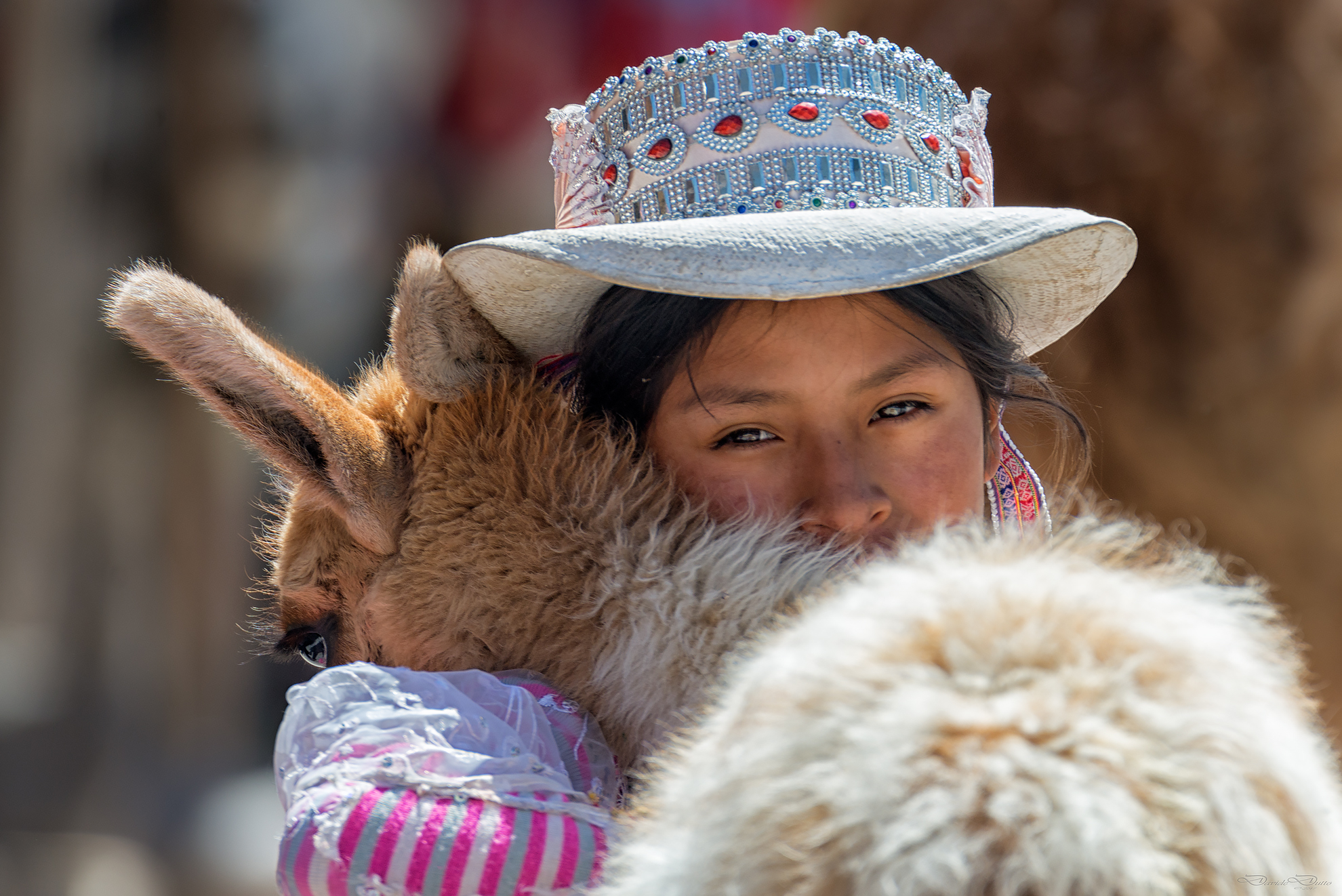 Peruvian girl in traditional clothes...