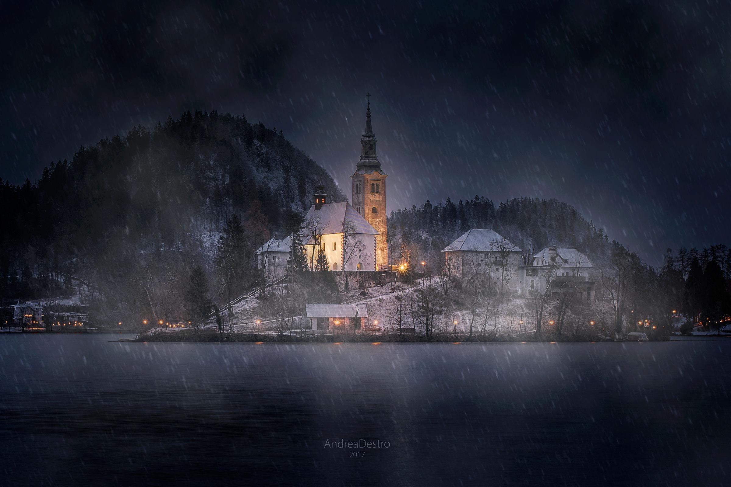 Snowy sunrise at Bled lake...