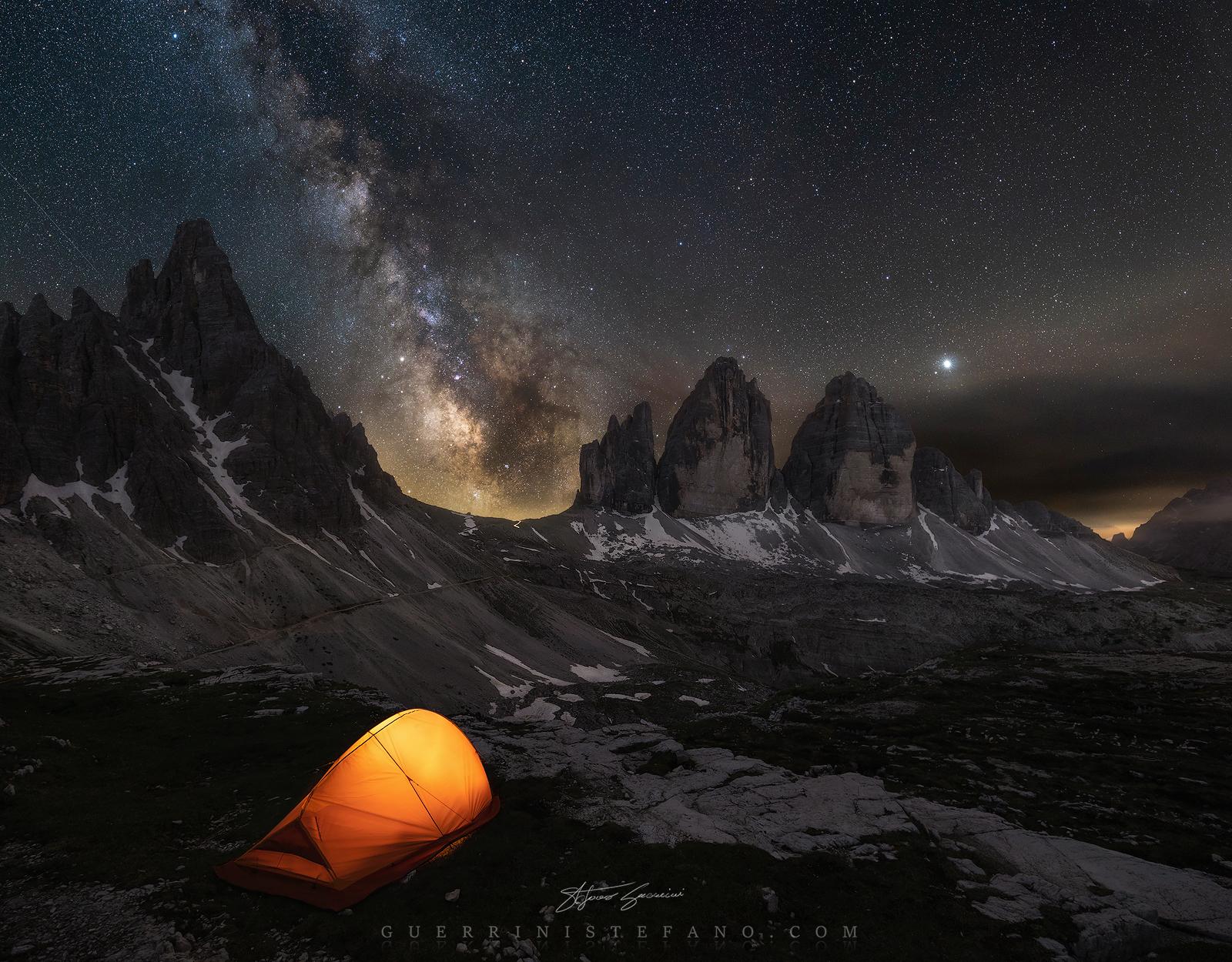 Milky Way three tops of Lavaredo...