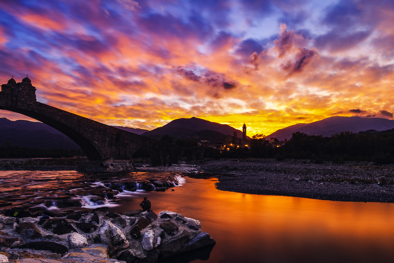 Sunset at the Hunchback Bridge of Bobbio...